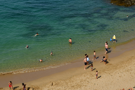 Saint Malo; France - july 28 2019 : bathers on the the picturesque city in summer