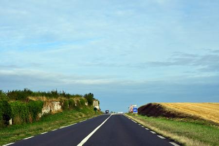 Saint Clair sur Epte, France - august 8 2019 : the D 6014 road between Magny en Vexin and Fleury sur Andelle Sajtókép