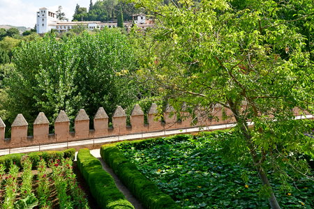 Granada; Spain - august 27 2019 : the Alhambra palace garden Editorial