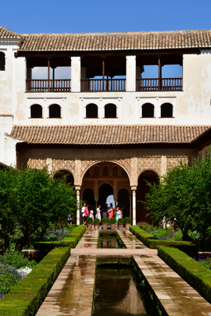 Granada; Spain - august 27 2019 : Generalife palace in the Alhambra palace