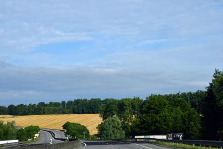 Saint Clair sur Epte, France - august 8 2019 : the D 6014 road between Magny en Vexin and Fleury sur Andelle