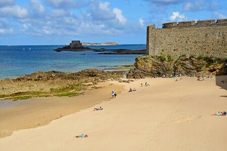 Saint Malo; France - july 28 2019 : beach of the picturesque city in summer Stock Photo