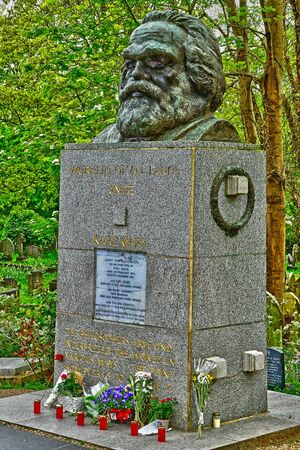 London, England - may 6 2019 : Karl Marx tomb in the Highgate cemetery opened in 1839