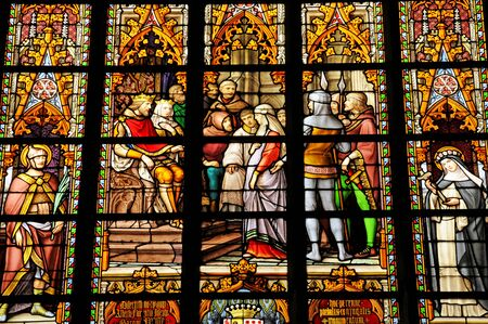 Belgium, the picturesque cathedral of  Brussels stained glass window