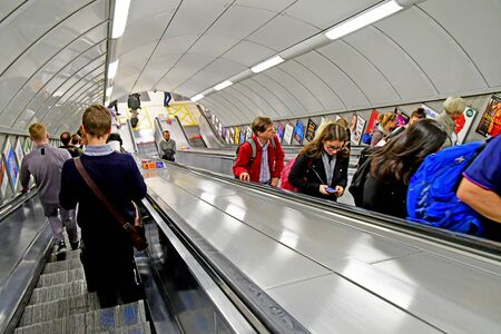 London, England - may 1 2019 : the tube in King cross Saint Pancras station Editorial