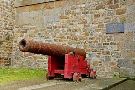 Saint Malo; France - july 28 2019 : cannon on the ramparts Stok Fotoğraf