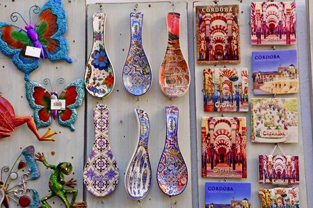 Cordoba; Spain - august 28 2019 : souvenir shop in the old city