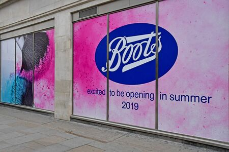 London, England -  may 3 2019 : a shop excited to be opening in summer