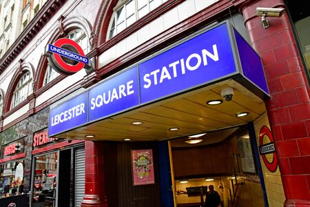 London, England -  may 3 2019 : the Leicester Square Station