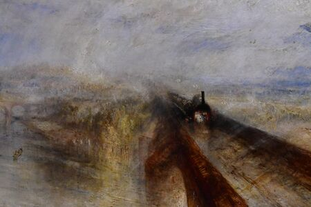 London, England -  may 3 2019 : the National Gallery. Rain,Steam and speed. The Great Western Railway by Turner 1844