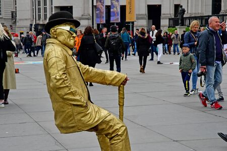 London; England ; may 3 2019 : mime artist in the Trafalgar Square