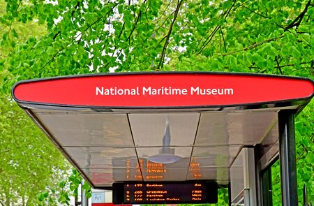 London, Greenwich; England - may 5 2019 : the National Maritime bus stop city centre