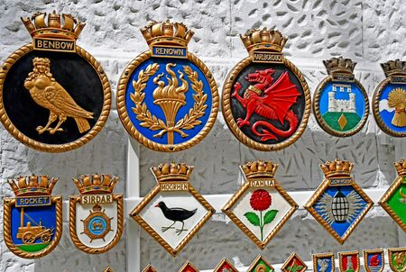 London, Greenwich; England - may 5 2019 : ship badges in the National Maritime Museum