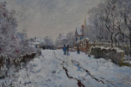 London, England -  may 3 2019 : the National Gallery. Snow Scene at Argenteuil by Claude Monet 1875