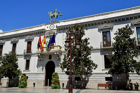 Granada; Spain - august 27 2019 : the city hall on the Plaza del Carmen Imagens