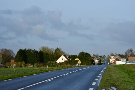 Suzay, France - january 29 2020 : the D 6014 road between Magny en Vexin and Fleury sur Andelle