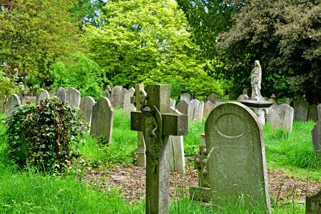 London; Hampstead, England - may 5 2019 : cemetery of the Parish church of Saint John in the Hampstead district