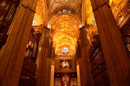 Seville; Spain - august 28 2019 : the historical cathedral Stock Photo