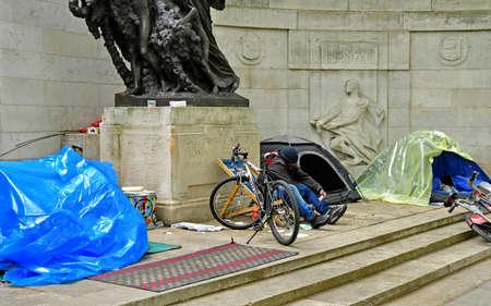 London; England - may 3 2019 : homeless person near Proud Embankment cabaret