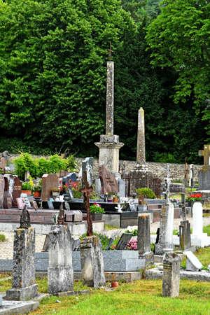 La Roche Guyon; France - july 27 2018 : the cemetery 写真素材 - 143357343