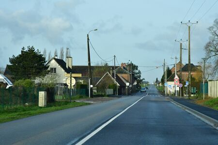 Boisemont, France - january 29 2020 : the D 6014 road between Magny en Vexin and Fleury sur Andelle