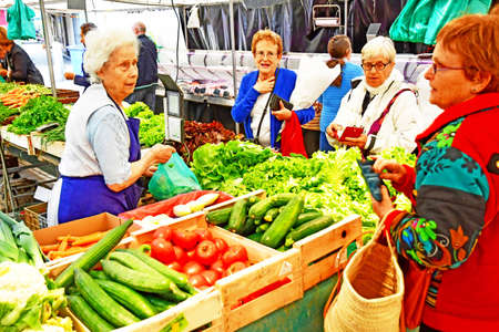 Saint Germain en Laye; France - august 7 2019 : vegetable at the sunday market in the city centre