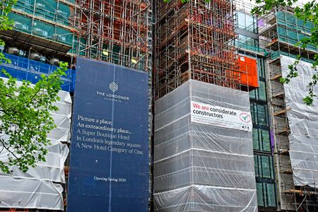 London, England -  may 3 2019 : building site in Leicester Square Imagens