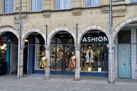 Aras, France - january 24 2020 : cloth shop in the Place des Heros