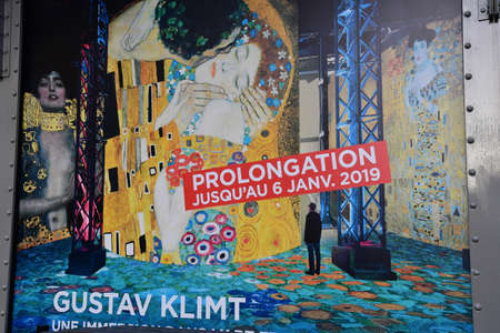 Paris; France - november 30 2018 : the Atelier des Lumieres, a place of digital art in an old factory