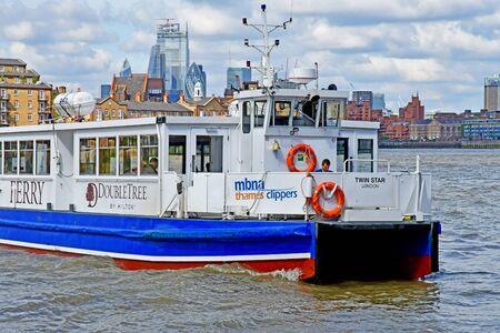 London; England - may 5 2019 : Thames river cruise in Docklands