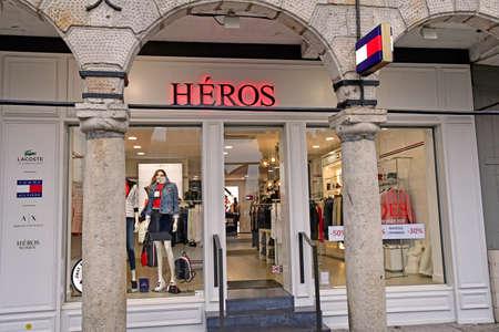 Aras, France - january 24 2020 : cloth shop in the Taillerie street Sajtókép