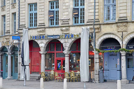 Aras, France - january 24 2020 : pub in the Place des Heros