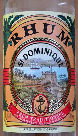 Paris; France - april 22 2020 : a bottle of Saint Dominique rum