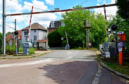 Villennes sur Seine; France - may 18 2020 : level crossing in the picturesque city centre Stock fotó