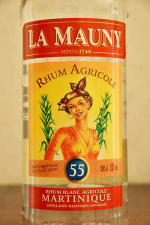 Martinique; France - april 22 2020 : close up of a La Mauny rum bottle