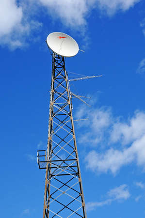 Quebec; Canada- june 25 2018 : antennas on a pylon in Dolbeau Mistassini 報道画像
