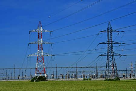 Boinville en Mantois; France - may 18 2020 : the high voltage substation Фото со стока - 150490818