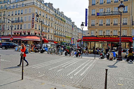 Paris; France - may 1 2019 : rue de Dubkerque in front of the Paris Nord station
