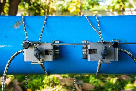 Ultrasonic flow meter for measure rate of water flow. Banco de Imagens