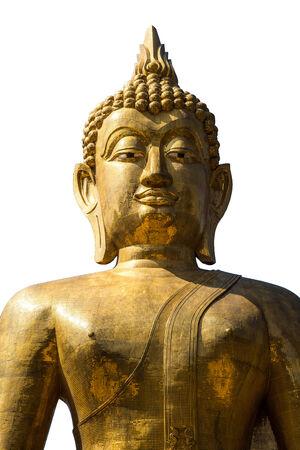 A big Buddha statue on white background.  photo