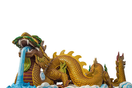 chinese temple: A large dragon statue on white background. Isolate