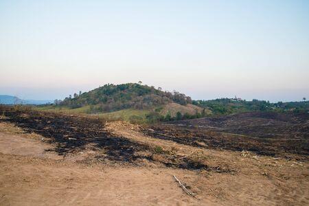 land use: La montagna era in fiamme per l'agricoltura. Masterizzazione montagna a terra uso. Archivio Fotografico