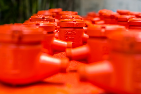 propellant: Spraying color many water meter in the factory.