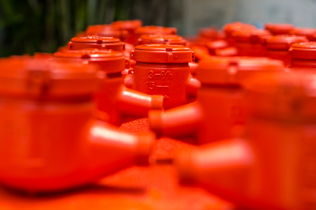 compressed: Spraying color many water meter in the factory.