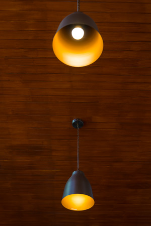 recessed: Recessed ceiling lights in a coffee shop Stock Photo