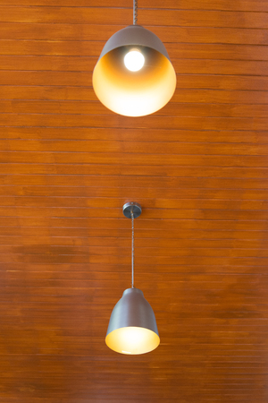lighting fixtures: Recessed ceiling lights in a coffee shop Stock Photo