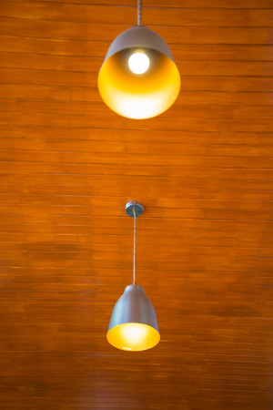 Recessed ceiling lights in a coffee shop Stock Photo
