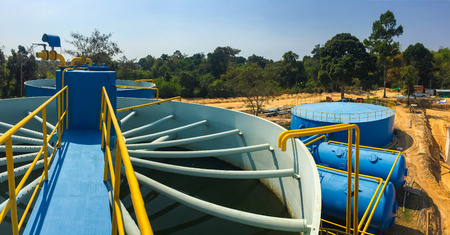 aguas residuales: Plantas de tratamiento de agua de la depuradora en Tailandia.