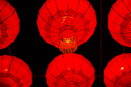 hong kong night: Red lanterns that decorate the place. Chinese New Year
