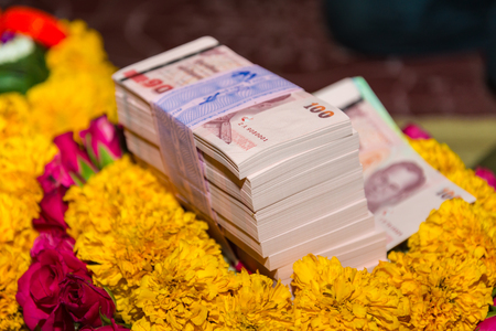 dowry: The dowry in a wedding in Thailand.